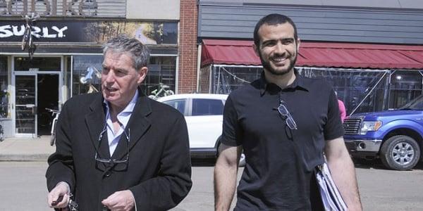 Omar Khadr, right, with his lawyer, Dennis Edney