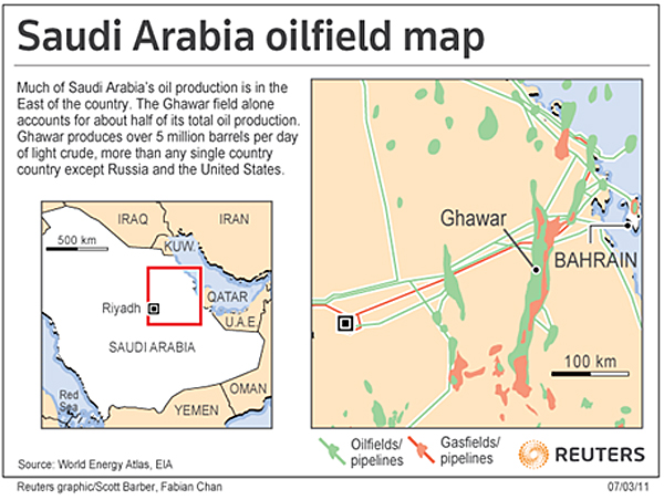Reuters published this Saudi Arabia oilfield map in 2011