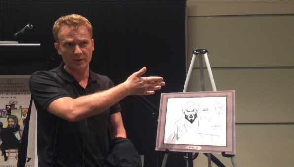 Bosch Fawstin talks to WND about his drawing in Garland, Texas, May 3 before the terrorist attack (WND photo)