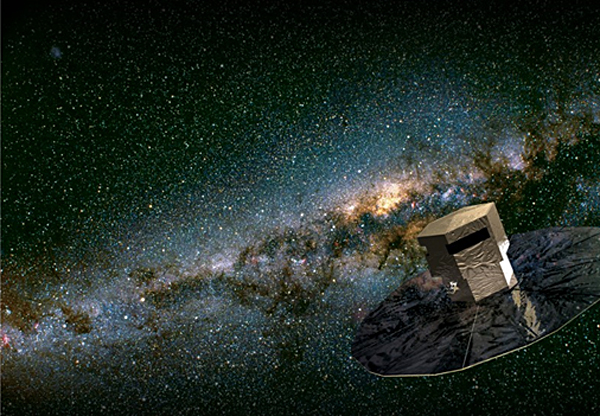 "The European Space Agency's new telescope ""Gaia"" will use a billion-pixel camera to map a billion stars. ""Gaia"" is shown here in an artist's impression."