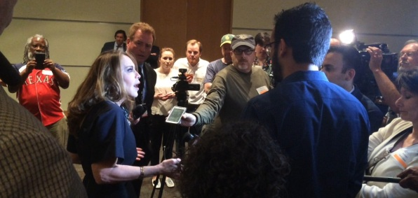 Pamela Geller explains to reporters in Garland, Texas, May 3, 2015, why she was holding a Muhammad art contest (WND photo)