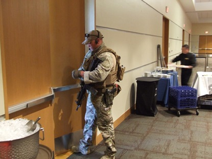 A SWAT team member at the entrance to the ballroom where the Muhammad Art and Cartoon Contest was held Sunday in Garland, Texas (WND photo)