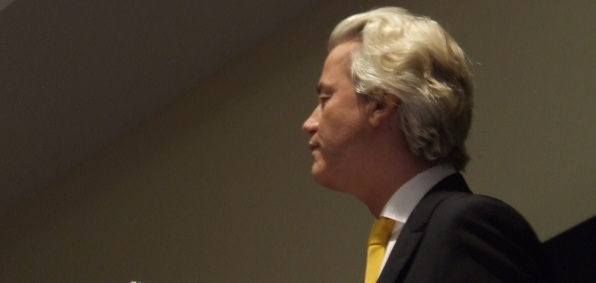 Geert Wilders speaking at the event Sunday night in Texas where a police officer was shot (WND photo)