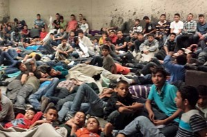 Illegal immigrants at a detention center