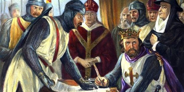 King John signing Magna Carta, June 15, 1215 A.D.