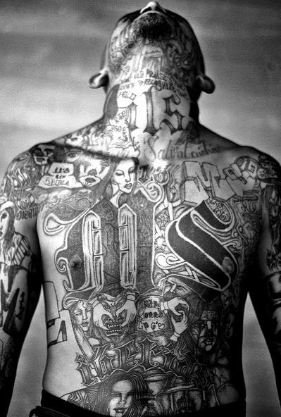 "A common MS-13 street tattoo includes the letters ""MS"""