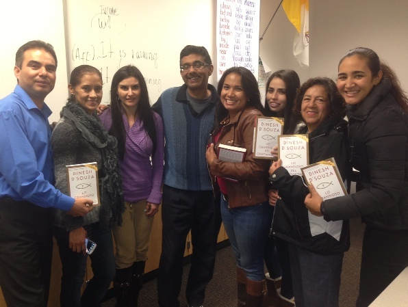 Dinesh D'Souza with his English class (Courtesy Dinesh D'Souza)