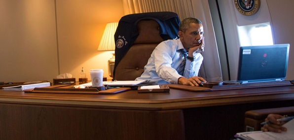 President Obama in his Air Force One office