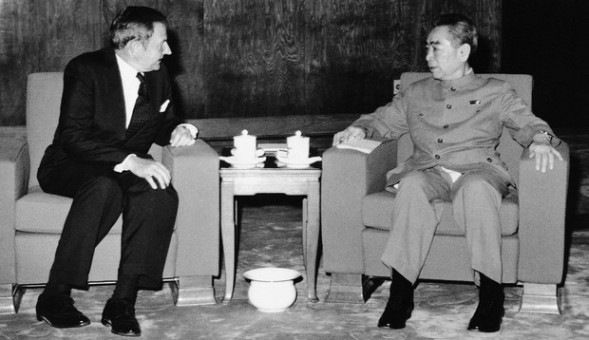 David Rockefeller meeting with Chinese Premier Zhou Enlai in 1973