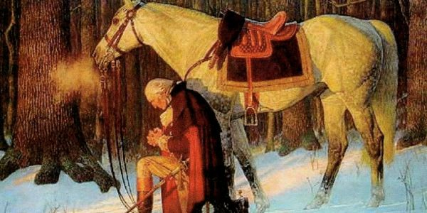 George Washington kneeling in prayer
