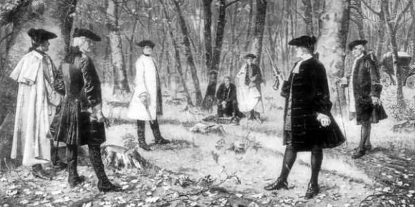 the duel between the alexander hamilton and aaron burr Aaron burr and alexander hamilton held their duel in weehawken, new jersey, on july 11, 1804 hamilton was mortally wounded and died the next day, july 12 aaron burr was charged with murder in.