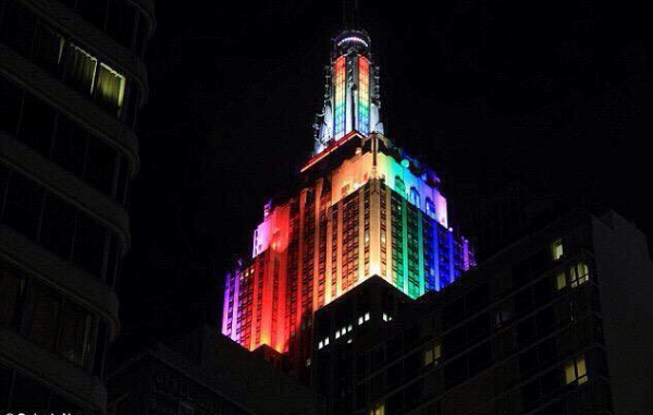 New York's Empire State Building lit up in the rainbow to celebrate the Supreme Court ruling on same-sex marriage in June 2015