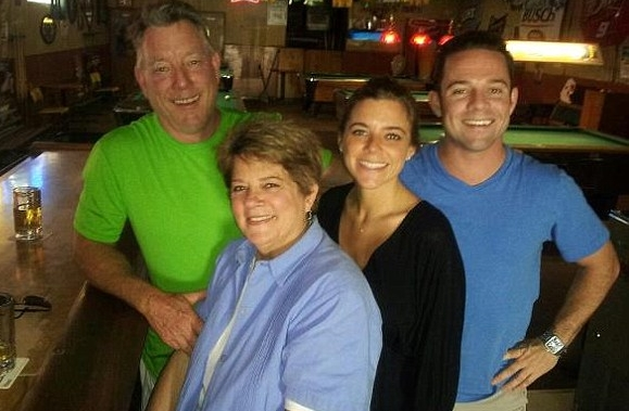 Jim Steinle with his family, including his wife, Liz, daughter Kate, and her brother, in happier times.