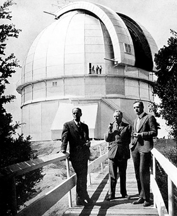 Edwin Hubble (right) at the Mount Wilson Observatory. Hubble discovered other galaxies beyond the Milky Way and shocked the world with the news that our universe is expanding