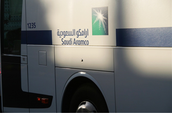 A Saudi Aramco company bus makes its morning run (Photo by Anthony C. LoBaido)