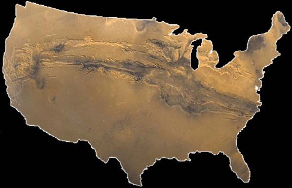 Think the Grand Canyon in Arizona is big? Take a look at Mars' Valles Marineris superimposed on a map of the United States
