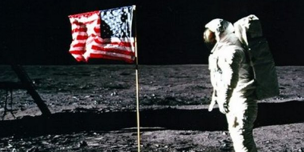 Buzz Aldrin steps on the moon in July 1969.