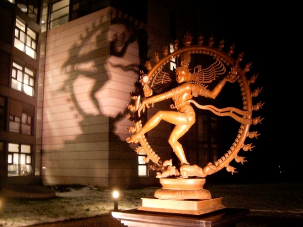This statue of Shiva, the destroyer, sits in front of CERN headquarters in Geneva, Switzerland.