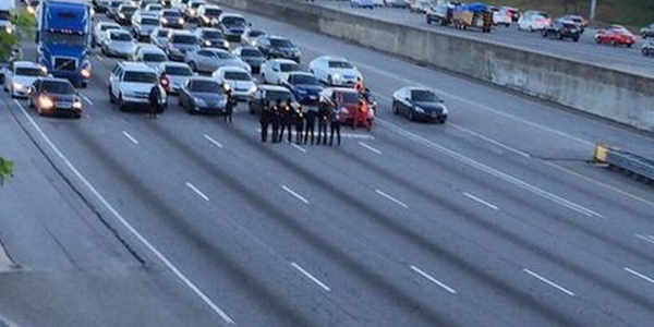 Protesters shut down a highway i Ferguson for a time.