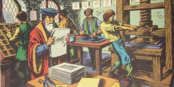 Johannes Gutenberg in his print shop