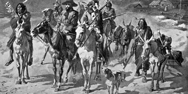 Marcus Whitman leaving home on his winter ride to save Oregon