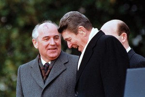 General Secretary of the Communist Party of the Soviet Union Mikhail Gorbachev and  U.S. President Ronald Reagan