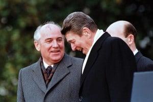 General Secretary of the Communist Party of the Soviet Union Mikhail Gorbachev and  U.S. President Ronald Reagan