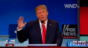 Donald Trump at a GOP primary debate in August 2015
