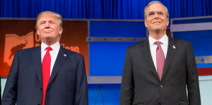 GOP presidential candidates Donald Trump and Jeb Bush in 2016