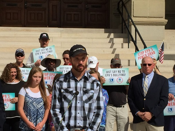 Wyoming rancher Andy Johnson talks about his lawsuit against EPA, in news conference in Cheyenne. (Photo courtesy Pacific Justice Foundation)