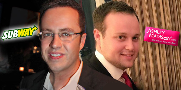 "Former Subway spokesman Jared Fogle (left) and Josh Duggar (right) from former reality show, ""19 Kids and Counting"""