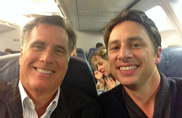 Mitt Romney tweeted a photo of himself and actor Zach Braff on a flight to Salt Lake City in January 2014.