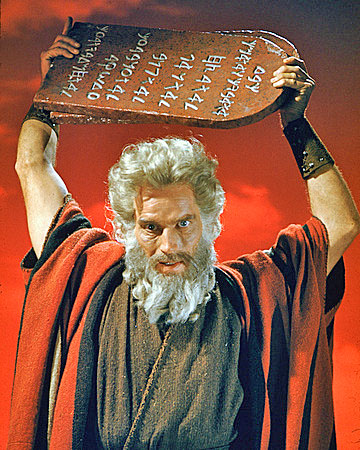 "Charlton Heston as Moses prepares to smash the first set of God's law in 1956's ""The Ten Commandments."""