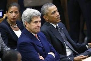 Former National Security Adviser Susan RIie, former Secretary of State John Kerry and former President Barack Obama