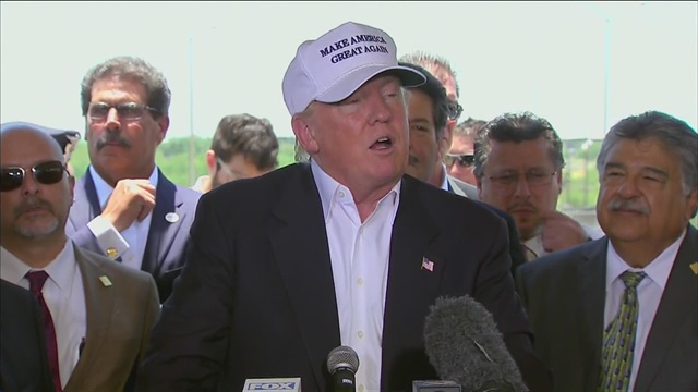 Republican presidential candidate Donald Trump at Mexican border in Laredo, Texas, on July 23, 2015