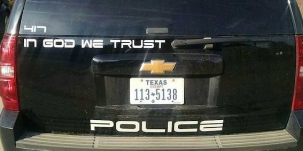 "Childress Police Chief Adrian Garcia refuses to apologize for his department's ""In God We Trust"" decals on patrol vehicles. (Image: Facebook, Childress Police Department)"