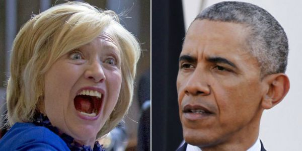 Image result for screaming hillary obama