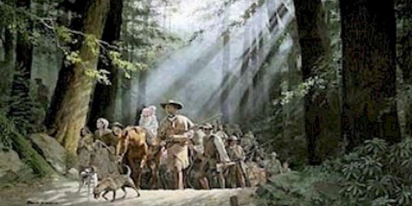 Daniel Boone leading settlers through the Cumberland Gap