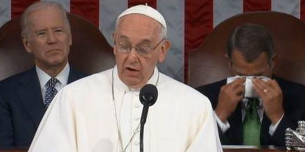 John Boehner tears up at pope's speech.