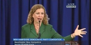 Democratic National Committee Chairwoman Debbie Wasserman Schultz found herself fending off a barrage of calls for more debates while at the New Hampshire Democratic Party convention in Manchester, Sept. 19, 2015. (Image: C-SPAN)