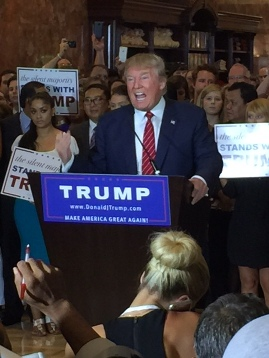 Donald Trump speaks to reporters at Trump Tower in New York City Sept. 3, 2015 (WND photo)