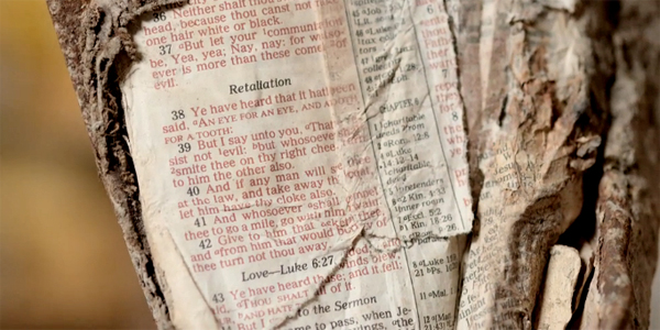 "A Bible found in the rubble of Ground Zero (Photo: Screenshot, ""Remembering 9/11"")"