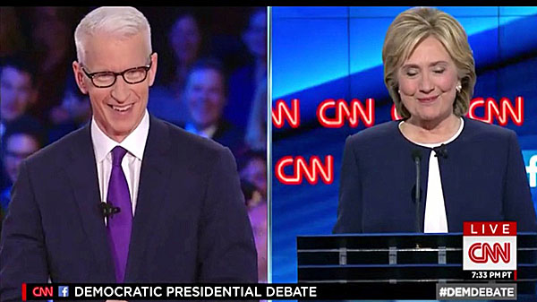 CNN's Anderson Cooper and former Secretary of State Hillary Clinton during the Democratic presidential debate in Las Vegas Oct. 13, 2015 (CNN screenshot)