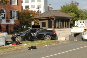 Miriam Carey's car after she was shot to death (Photo provided by the Justice Department)