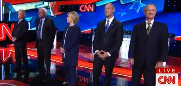 Candidates get ready to begin the first Democratic debate of the 2016 campaign, Oct. 13, 2015. (Image: CNN screenshot)