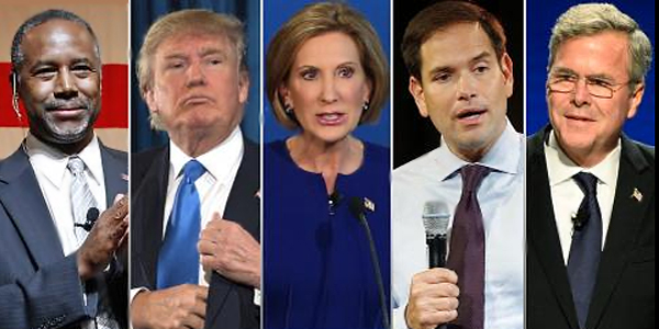 Left to right: GOP presidential candidates Dr. Ben Carson, Donald Trump, Carly Fiorina, Marco Rubio and Jeb Bush