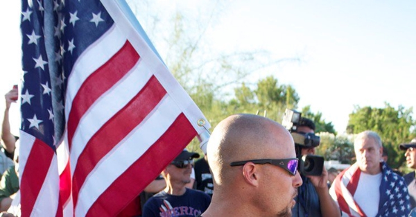 Jon Ritzheimer, a U.S. Marine who fought in the Iraq, at rally in Phoenix in June against Shariah law.
