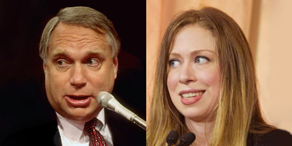 Webb Hubbell (left) and Chelsea Clinton (right)