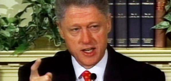 "Bill Clinton's famous public denial of ""sexual relations"" with Monica Lewinsky Jan. 26, 1998"