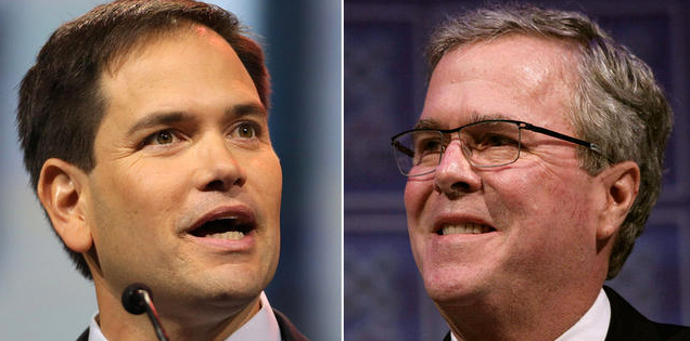 Florida Sen. Marco Rubio, left, and former Florida Gov. Jeb Bush are both big supporters of foreign guest-worker visas that allow U.S. companies to outsource skilled labor positions.